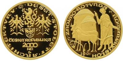 2000 Kč 2001 - Románský sloh - rotunda ve Znojmě, PROOF
