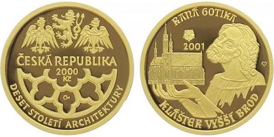 2000 Kč 2001 - Raná gotika - klášter ve Vyšším Brodě, Au 0,9999 (6,22 g), průměr 20 m