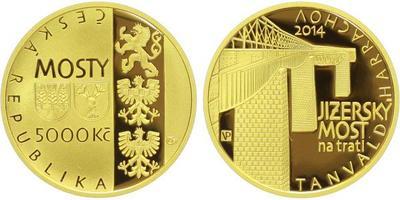 5000 Kč 2014 - Jizerský most na trati Tanvald - Harrachov, Au 0,9999, 28 mm (15,55 g)