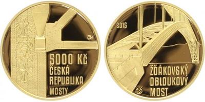 5000 Kč 2015 - Žďákovský obloukový most, PROOF, bez certifikátu