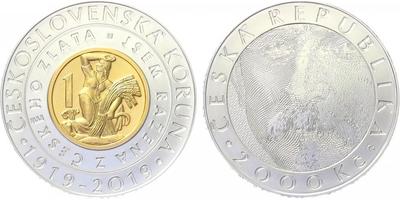 2000 Kč 2019 - 100. výročí zavedení československé měny - bez karty