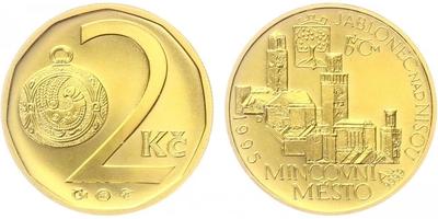 Medaile 1995 - Motiv 2 Kč / mincovní město Jablonec nad Nisou, etue, běžná kvalita