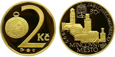 Medaile 1995 - Motiv 2 Kč / mincovní město Jablonec nad Nisou, PROOF