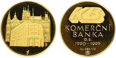 Medaile 1995 - Pamětní medaile k 5. výročí Komerční banky, PROOF