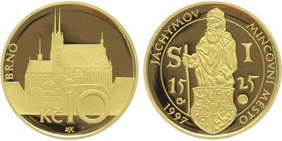Medaile 1997 - Motiv 10 Kč / mincovní město Jáchymov, Au 0,9999 (15,56 g), PROOF