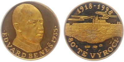 Medaile 1998 - 80. výročí Československa - Dr. Edvard Beneš, PROOF