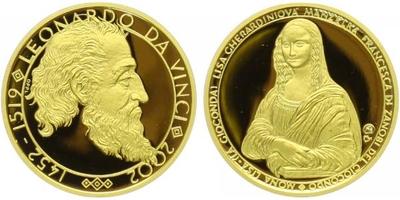 Medaile 2002 - Leonardo da Vinci a Mona Lisa, Au 0,9999, 22 mm (7,78 g), 1/4 Oz, etue