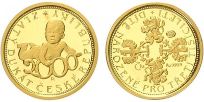 Medaile 2000 - Zlatý dukát české republiky - Dítě narozené pro 3. tisíciletí, PROOF