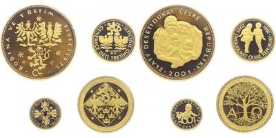 Sada 2001 - Dukátová řada České republiky - 10, 5, 2 a 1 dukát, PROOF