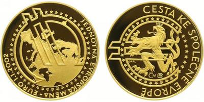 Medaile 2002 - K zavedení Euro měny, Au 0,9999 (7,78 g), PROOF
