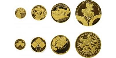 Sada medailí 2005 - Dukátová řada České republiky - 10, 5, 2 a 1 dukát, Au 0,9999 (ce