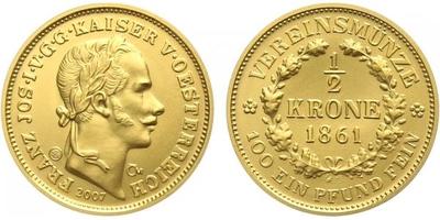 Medaile 2007 - Spolková půlkoruna 1861, běžná kvalita