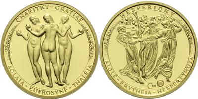 Medaile 2007 - Tři Grácie, Au 0,9999, 19 mm (3,49 g), etue a certifikát, PROOF