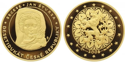 Desetidukát ČR 2008 -Secese - Jan Štursa, Au 0,9999 (31,1 g), průměr 37 mm, etue a ce