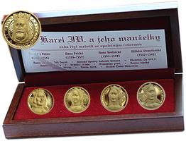 Sada 4 kusů medailí se společným reversem 2008 - Karel IV. a jeho manželky, etue a ce