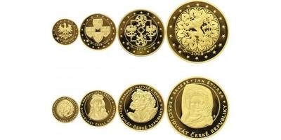Sada medailí 2008 - Dukátová řada České republiky - 10, 5, 2 a 1 dukát, PROOF