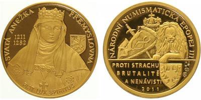Číslovaná medaile 2011 - Sv. Anežka Přemyslovna - Národní numismatická epopej, PROOF