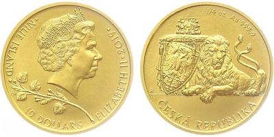 10 dolars - Zlatá 1/4oz investiční mince Český lev 2019, běžná kvalita