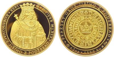 AR Medaile b.l. - 550 let od korunovace Jiřího z Poděbrad českým králem, PROOF