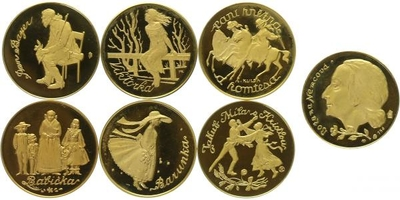 6 x medaile b.l. se společným reversem - Božena Němcová - Babička, PROOF
