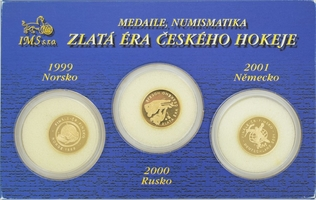 Sada 5 kusů medailí se společným reversem b.l. - Karel IV. a jeho manželky, Au 0,999,