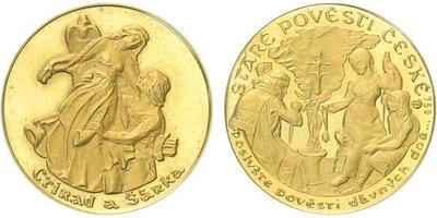 Medaile b.l. - Staré pověsti České - Ctirad a Šárka, PROOF