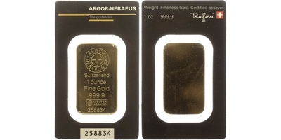 Investiční slitek ARGOR - HERAEUS, 999.9/1000, 31,1g, 1OZ