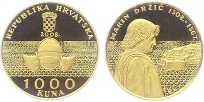 1000 Kuna 2008 - Marin Držič, PROOF