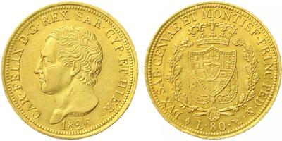 Itálie - Sardinie, 80 Lira 1826 L