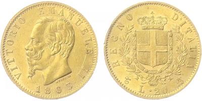 20 Lira 1863 T, Au 0,900 (6,4516 g)