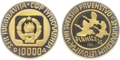 10000 dinárů 1985 - 1. místo v letech na lyžích