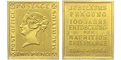 Medaile 1964 - 100 let od objevení nejvzácnější známky světa - Modrého Maurícia