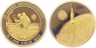 Německo, Medaile b.l. - 25. výročí přistání na měsíci, PROOF