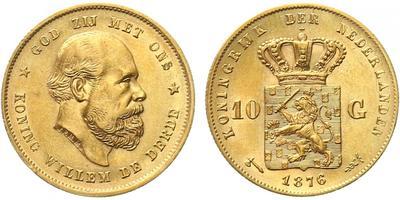Nizozemí, 10 Gulden 1890, Au 0,900 (6,7290 g), b.k.