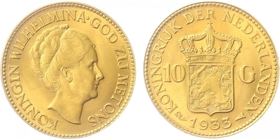 10 Gulden 1933, Au 0,900 (6,7290 g)