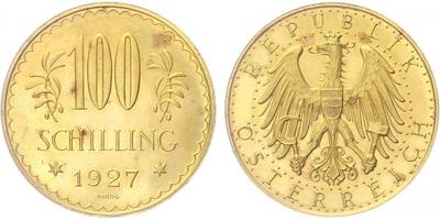 Rakousko, 100 Schilling 1929, Au 0,900, 32,5 MM