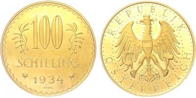Rakousko, 100 Schilling 1934