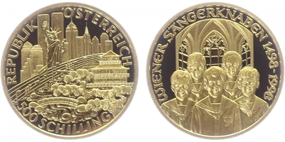 500 Schilling 1998 - 500 let Vídeňského chlapeckého pěveckého sboru, PROOF