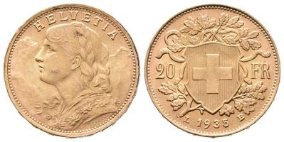 20 Frank 1935 LB, Au 0,900 (6,4516 g)