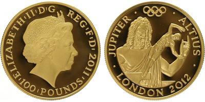 100 Pounds 2012 - Olympiáda Londýn 2012, Římský bůh Jupiter, PROOF
