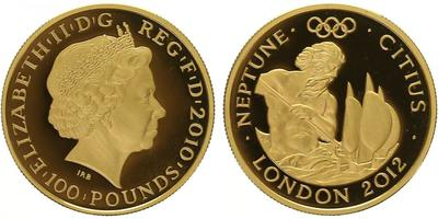 100 Pounds 2012 - Olympiáda Londýn 2012, Římský bůh Neptun, PROOF