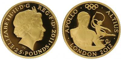 25 Pounds 2012 - Olympiáda Londýn 2012, Římský bůh Apollo, PROOF