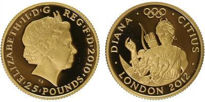 25 Pounds 2012 - Olympiáda Londýn 2012, Římská bohyně Diana, PROOF