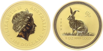 100 Dolar 1999 - Lunární znamení - Rok králíka