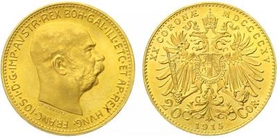 Rakousko - Uhersko, 20 Koruna 1915 - novoražba, Au 0,900 (6,775 g)