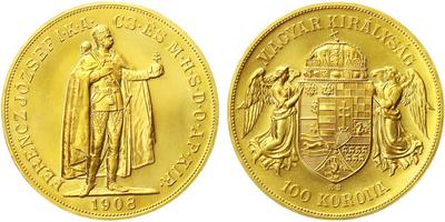 Rakousko - Uhersko, 100 Koruna 1908 - novoražba, Au 0,900 (33,875 g)