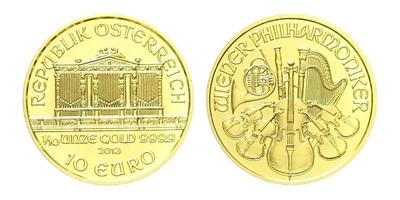 Rakousko, 10 EURO - 2013 - Vídeňská filharmonie, 1/10 Oz