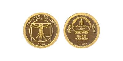 500 Tugriků 2006 - Leonardo da Vinci, PROOF