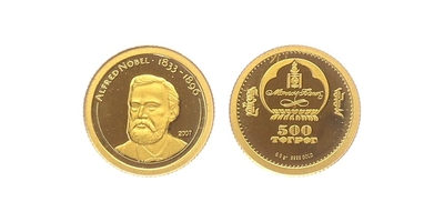 500 Tugriků 2007 - Alfred Nobel, PROOF