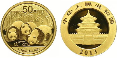 Čína, 50 Yuan 2013 - Zlatá panda, PROOF